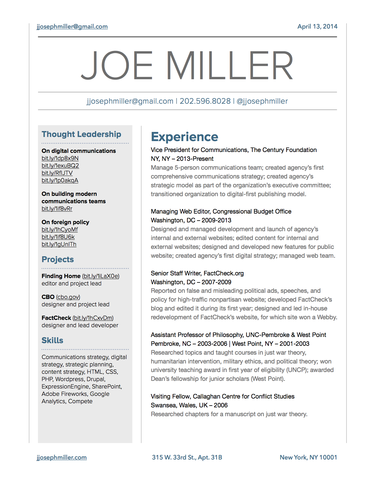 Joe Miller's Resume